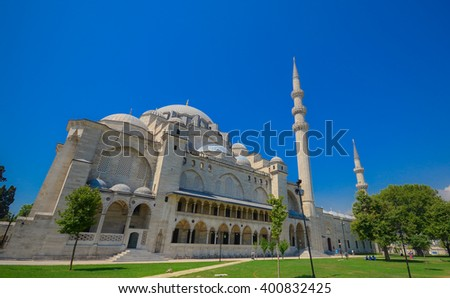 The Suleymaniye Mosque in Istanbul. - stock photo