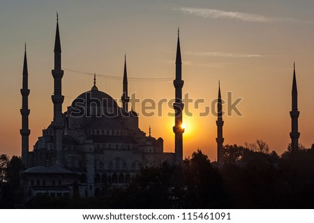 The Sultan Ahmed Mosque, popularly known as the Blue Mosque, in Istanbul at sunset. - stock photo