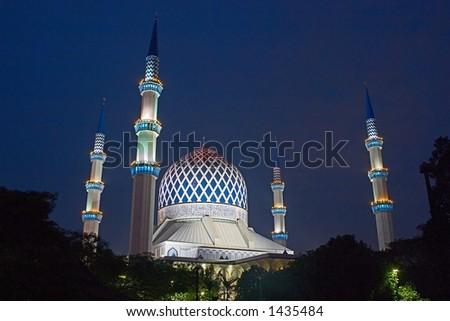 The Sultan Salahuddin Abdul Aziz Shah Mosque in Shah Alam, Selangor, Malaysia. - stock photo