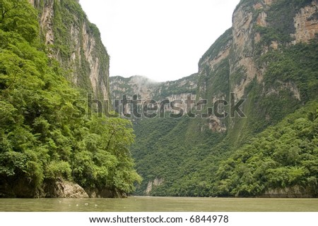 The Sumidero Canyon in Chiapas Mexico, the wall of rock reach 1600 yards (1000 meters) - stock photo