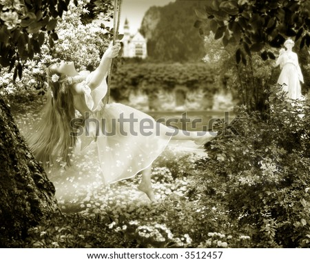 The  Summer Day. The Girl swings on seesaw in uncared-for flowering garden. She has a splendid gown and long hairs. She merrily and carefree. - stock photo