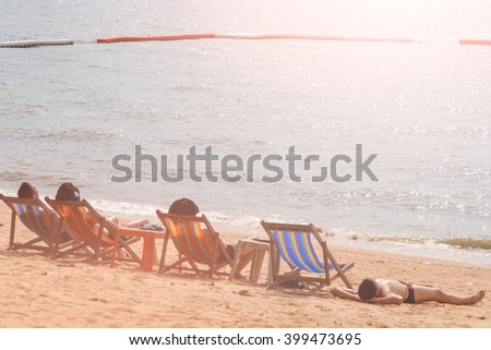 The summer holiday at sea with family and loved ones. - stock photo