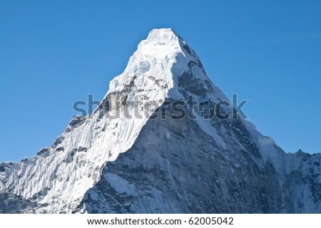 The summit of Ama Dablam mountain, Khumbu glacier, Nepal - stock photo