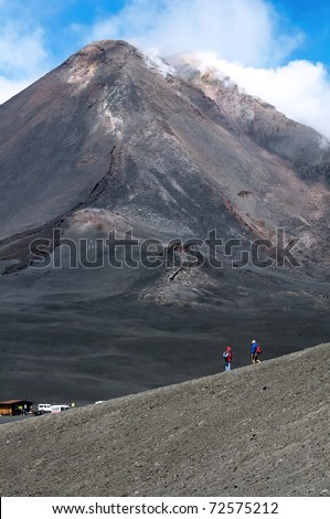 The summit of Mount Etna - stock photo