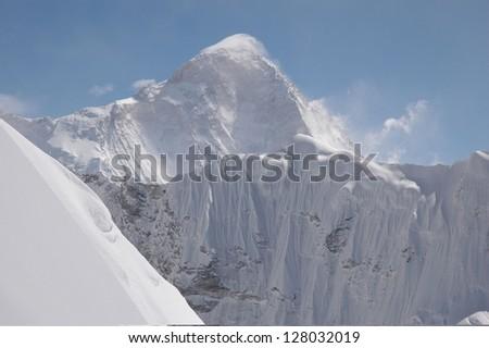 the summit of nepal hymalayas - stock photo