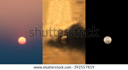 The Sun at daytime, The Moon covering the Sun in a partial eclipse with dramatic cloud and the moon at night  Scientific background, astronomical phenomenon - stock photo