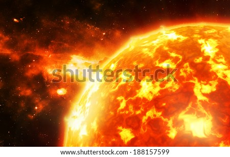 The sun - Background elements of this image furnished by NASA - stock photo