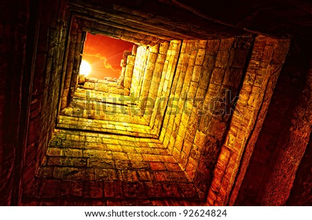 The sun in a old stone well, Angkor Wat temple, Cambodia - stock photo