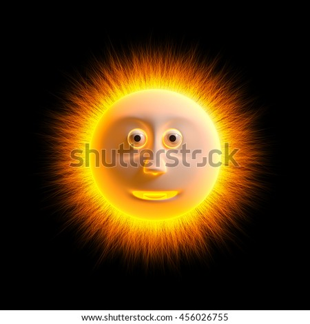 The sun in the background 3D rendering. - stock photo