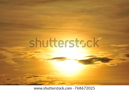 The sun is rising in the morning at Sea Island, Thailand.Scenic of orange sunrise sky background.Sunrise in the morning, sunrise with clouds.