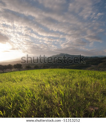 the sun is setting on a field of grass on a hilly background with a cloudy sky - stock photo