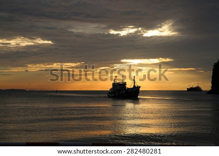 The sun light during sunrise at Khanorm bay, southern of Thailand.