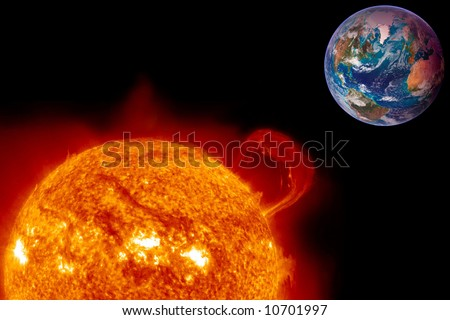 The Sun overheats a future Earth in this illustration of global warming. - stock photo
