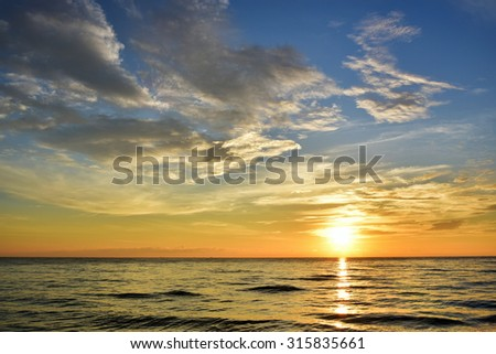 The sun rise in the morning seaside beautiful     - stock photo