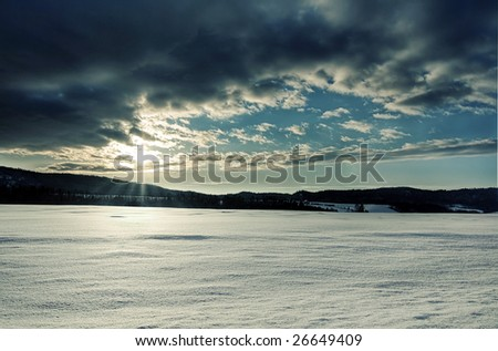 The sun rise in this winter morning. - stock photo
