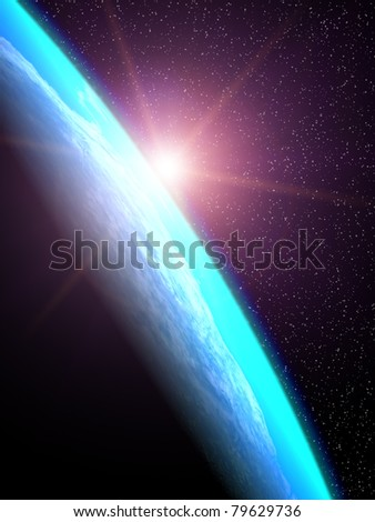 The sun's rays from the rising sun illuminate the planet