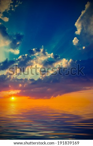 The sun sets over the horizon. natural landscape. Vintage style - stock photo