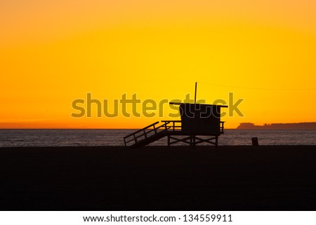 The sun sets over Venice beach on another perfect Los Angeles day in California, USA - stock photo