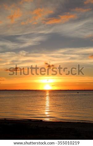 The Sun Setting in Tampa, Florida - stock photo