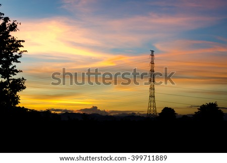 The sun shines in the morning - stock photo