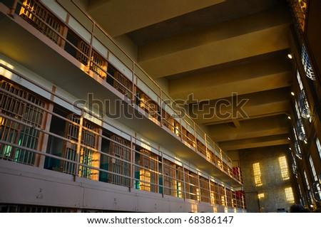 The sun shines on the cells in Alcatraz Prison in San Fransicso. - stock photo