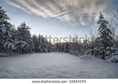 The sun will rise soon over this season's scenery - stock photo