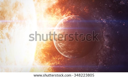 The Sun with circling planet. Elements of this image furnished by NASA - stock photo