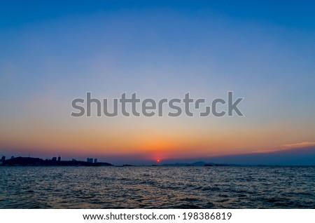 The sundown time in the evening at Pattaya Beach Chonburi Thailand - stock photo