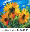 The sunflowers drawn by oil on canvas - stock photo
