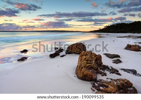 The sunrise at Hyams Beach was beautiful.  Jervis Bay NSW Australia - stock photo
