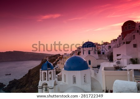 The sunset at Oia village in Santorini island in Greece