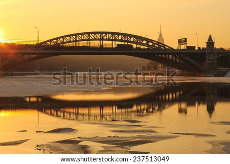 The sunset in winter Moscow, Russia - stock photo