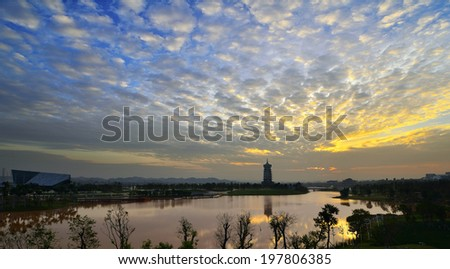 The sunset of Five Elephant Lake in Nanning, Guangxi, China.