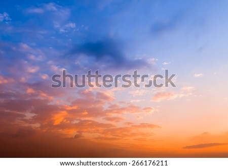 The sunset red clouds - stock photo