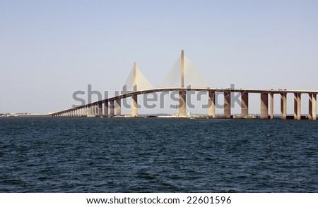 The Sunshine Skyway Bridge over Tampa Bay Florida - stock photo