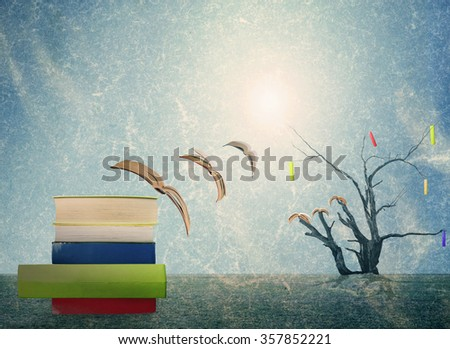 The surreal world of books - stock photo