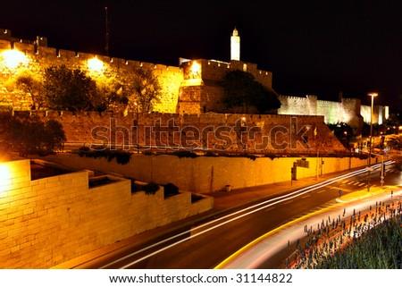 The surrounding wall of Old city at night. Jerusalem, Israel - stock photo
