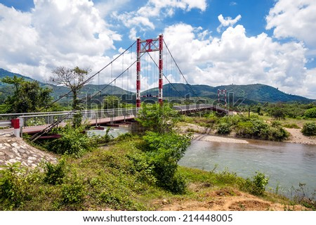 The suspension bridge in highland, Lam Dong province, Vietnam - stock photo