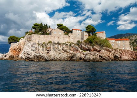 The Sveti Stefan, small islet and hotel resort in Montenegro