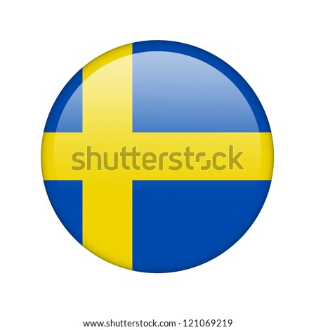 The Swedish flag in the form of a glossy icon. - stock photo