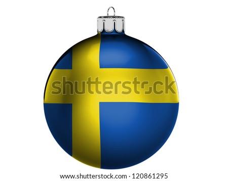 The Swedish flag  on a Christmas, x-mas toy - stock photo