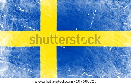 The Swedish flag painted in vintage style - stock photo