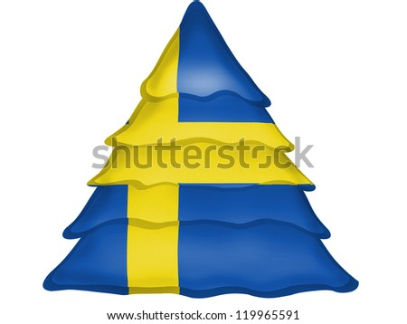 The Swedish flag painted on Christmas xmas tree icon - stock photo