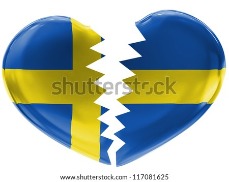 The Swedish flag painted on 3d broken heart - stock photo
