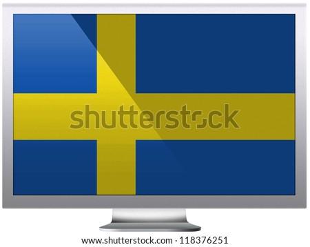 The Swedish flag painted on grey aluminum monitor - stock photo