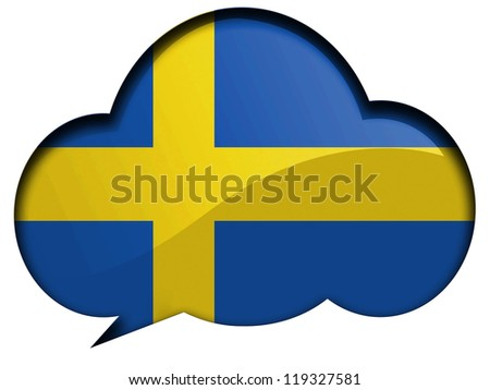 The Swedish flag painted on speaking or thinking bubble - stock photo