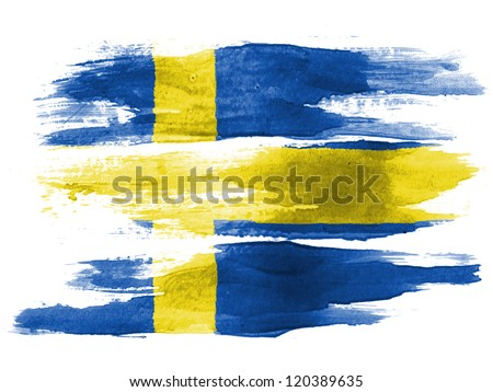 The Swedish flag painted on white paper with watercolor - stock photo