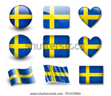 The Swedish flag - set of icons and flags. glossy and matte on a white background. - stock photo