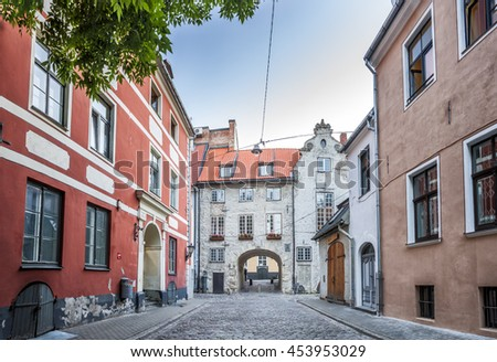 The Swedish Gate In Riga old Town. It's only remaining gate of city medieval defence wall. Panoramic montage of 3 HDR image - stock photo