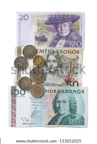 The Swedish money close up on a white background. - stock photo